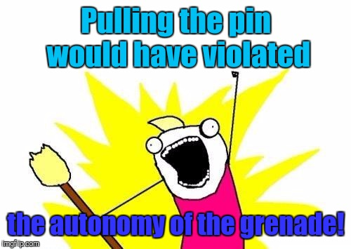 X All The Y Meme | Pulling the pin would have violated the autonomy of the grenade! | image tagged in memes,x all the y | made w/ Imgflip meme maker