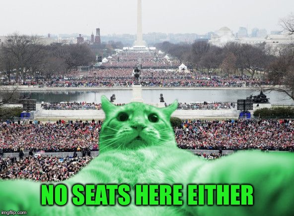 RayCat Inauguration | NO SEATS HERE EITHER | image tagged in raycat inauguration | made w/ Imgflip meme maker