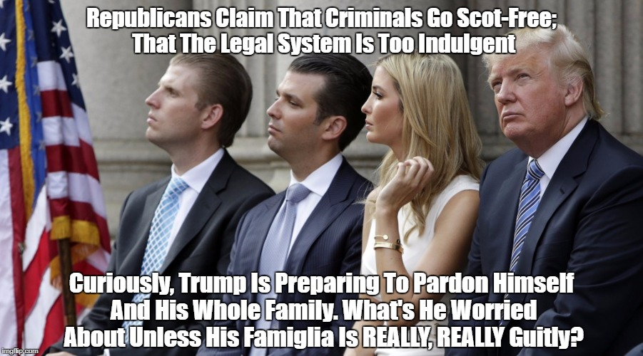 Republicans Claim That Criminals Go Scot-Free; That The Legal System Is Too Indulgent Curiously, Trump Is Preparing To Pardon Himself And Hi | made w/ Imgflip meme maker