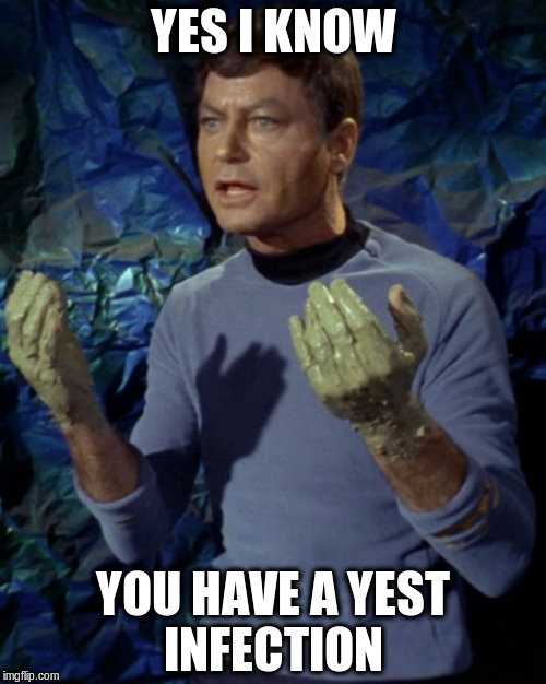 YES I KNOW YOU HAVE A YEST INFECTION | image tagged in bones mccoy | made w/ Imgflip meme maker