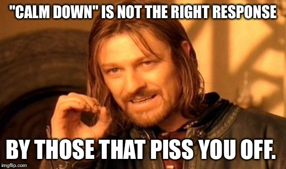 "One Does Not Simply Meme | ""CALM DOWN"" IS NOT THE RIGHT RESPONSE BY THOSE THAT PISS YOU OFF. 