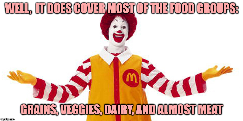 WELL,  IT DOES COVER MOST OF THE FOOD GROUPS: GRAINS, VEGGIES, DAIRY, AND ALMOST MEAT | made w/ Imgflip meme maker