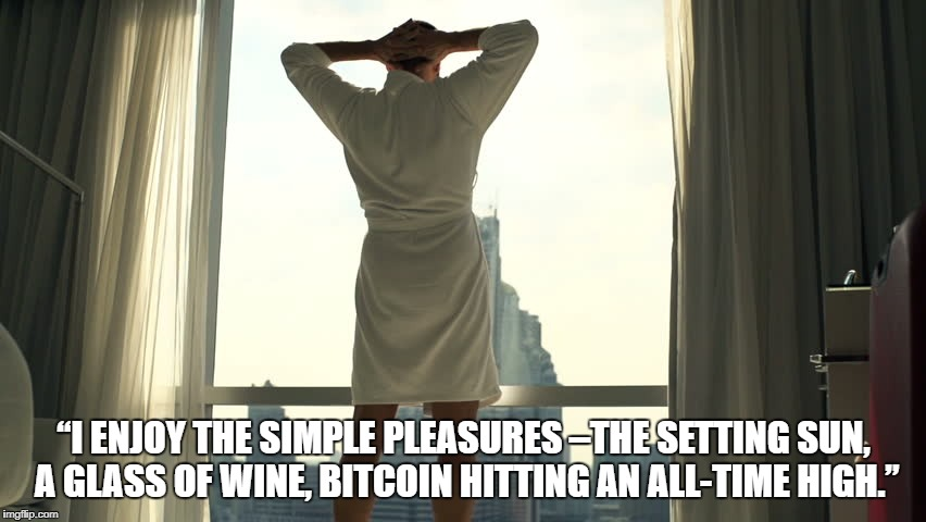 """I ENJOY THE SIMPLE PLEASURES –THE SETTING SUN, A GLASS OF WINE, BITCOIN HITTING AN ALL-TIME HIGH."" 