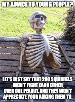 the cold law of supply and demand | MY ADVICE TO YOUNG PEOPLE? LET'S JUST SAY THAT 200 SQUIRRELS WON'T FIGHT EACH OTHER OVER ONE PEANUT, AND THEY WON'T APPRECIATE YOUR ASKING T | image tagged in memes,waiting skeleton | made w/ Imgflip meme maker