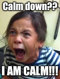 Hysterical Girl Screaming | Calm down?? I AM CALM!!! | image tagged in hysterical girl screaming | made w/ Imgflip meme maker