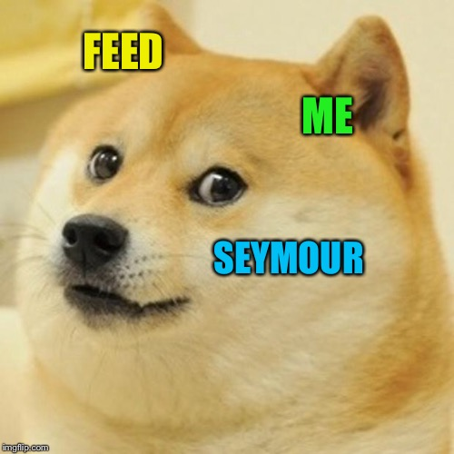 Doge Meme | FEED ME SEYMOUR | image tagged in memes,doge | made w/ Imgflip meme maker