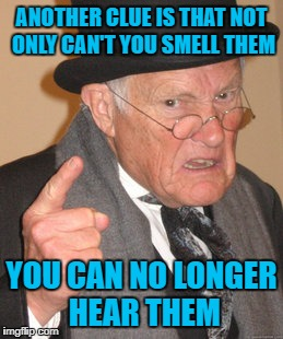 Back In My Day Meme | ANOTHER CLUE IS THAT NOT ONLY CAN'T YOU SMELL THEM YOU CAN NO LONGER HEAR THEM | image tagged in memes,back in my day | made w/ Imgflip meme maker