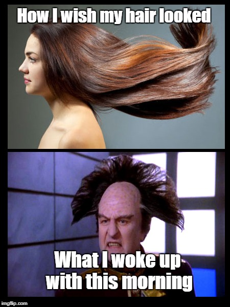 Morning Hair | How I wish my hair looked What I woke up with this morning | image tagged in hair,like londo | made w/ Imgflip meme maker
