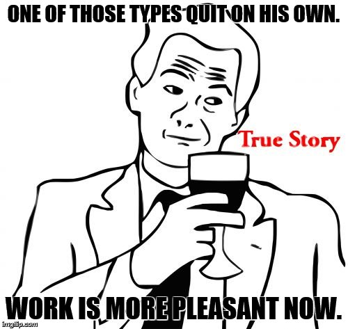 true story | ONE OF THOSE TYPES QUIT ON HIS OWN. WORK IS MORE PLEASANT NOW. | image tagged in true story | made w/ Imgflip meme maker