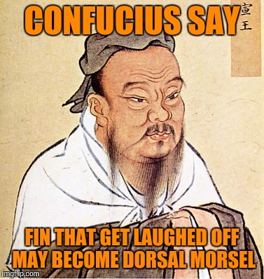 CONFUCIUS SAY FIN THAT GET LAUGHED OFF MAY BECOME DORSAL MORSEL | made w/ Imgflip meme maker
