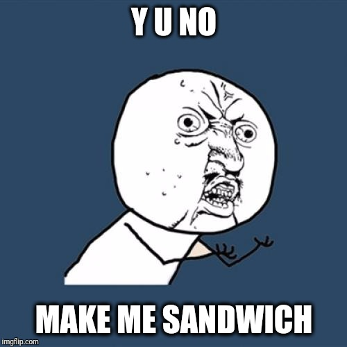Y U No Meme | Y U NO MAKE ME SANDWICH | image tagged in memes,y u no | made w/ Imgflip meme maker