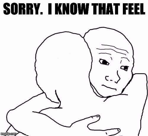 awww hug | SORRY.  I KNOW THAT FEEL | image tagged in awww hug | made w/ Imgflip meme maker