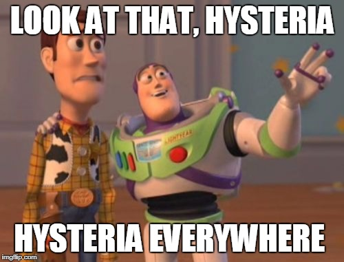 X, X Everywhere Meme | LOOK AT THAT, HYSTERIA HYSTERIA EVERYWHERE | image tagged in memes,x,x everywhere,x x everywhere | made w/ Imgflip meme maker