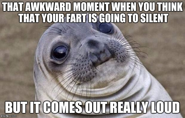 Awkward Moment Sealion Meme | THAT AWKWARD MOMENT WHEN YOU THINK THAT YOUR FART IS GOING TO SILENT BUT IT COMES OUT REALLY LOUD | image tagged in memes,awkward moment sealion | made w/ Imgflip meme maker