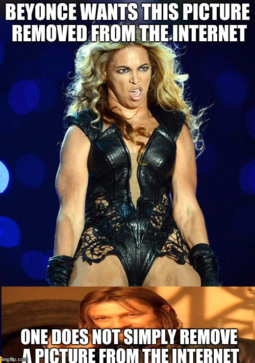 BEYONCE WANTS THIS PICTURE REMOVED FROM THE INTERNET ONE DOES NOT SIMPLY REMOVE A PICTURE FROM THE INTERNET | image tagged in queen b | made w/ Imgflip meme maker