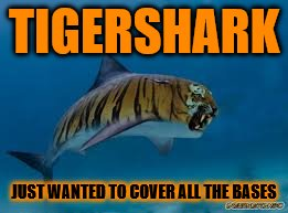 For Raydog and TigerLegend1046 Shark Week - Tiger Week | TIGERSHARK JUST WANTED TO COVER ALL THE BASES | image tagged in memes,tiger week,shark week,funny animals | made w/ Imgflip meme maker