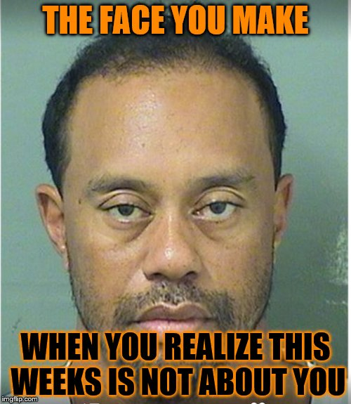 Tiger Week - A TigerLegend1046 Event | THE FACE YOU MAKE WHEN YOU REALIZE THIS WEEKS IS NOT ABOUT YOU | image tagged in tiger woods mug shot,tiger week | made w/ Imgflip meme maker