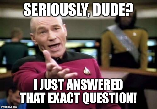 Picard Wtf Meme | SERIOUSLY, DUDE? I JUST ANSWERED THAT EXACT QUESTION! | image tagged in memes,picard wtf | made w/ Imgflip meme maker