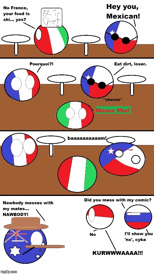 Here's my poorly drawn polandball comic by me. | image tagged in polandball,comic,original,texas,not funny,paint | made w/ Imgflip meme maker