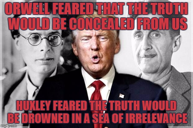ORWELL FEARED THAT THE TRUTH WOULD BE CONCEALED FROM US HUXLEY FEARED THE TRUTH WOULD BE DROWNED IN A SEA OF IRRELEVANCE | image tagged in amusing ourselves to death | made w/ Imgflip meme maker