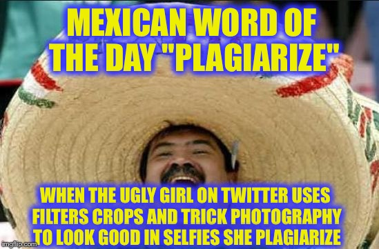"The Eyes Have it, LoL! | MEXICAN WORD OF THE DAY ""PLAGIARIZE"" WHEN THE UGLY GIRL ON TWITTER USES FILTERS CROPS AND TRICK PHOTOGRAPHY TO LOOK GOOD IN SELFIES SHE PLAG 
