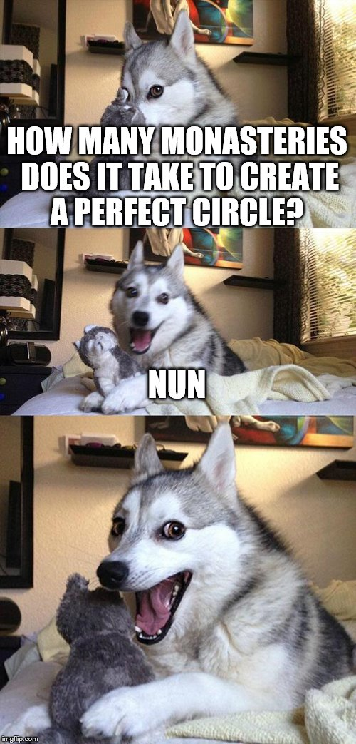 Bad Pun Dog Meme | HOW MANY MONASTERIES DOES IT TAKE TO CREATE A PERFECT CIRCLE? NUN | image tagged in memes,bad pun dog | made w/ Imgflip meme maker