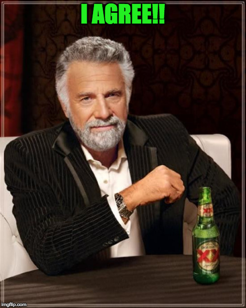The Most Interesting Man In The World Meme | I AGREE!! | image tagged in memes,the most interesting man in the world | made w/ Imgflip meme maker