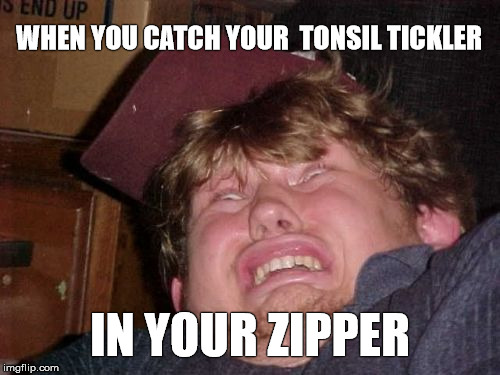 The face you pull |  WHEN YOU CATCH YOUR  TONSIL TICKLER; IN YOUR ZIPPER | image tagged in memes,wtf,funny,zipper,fun,pain | made w/ Imgflip meme maker