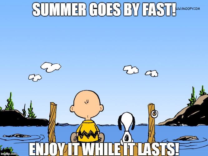 Summer Life | SUMMER GOES BY FAST! ENJOY IT WHILE IT LASTS! | image tagged in charlie brown,summer,snoopy | made w/ Imgflip meme maker