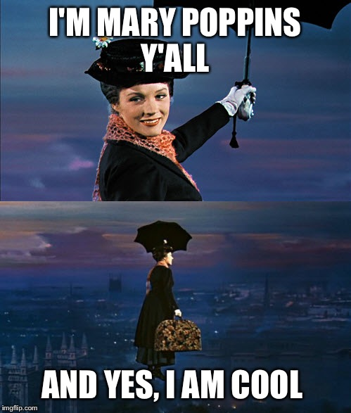 Mary Poppins Leaving | I'M MARY POPPINS Y'ALL AND YES, I AM COOL | image tagged in mary poppins leaving | made w/ Imgflip meme maker