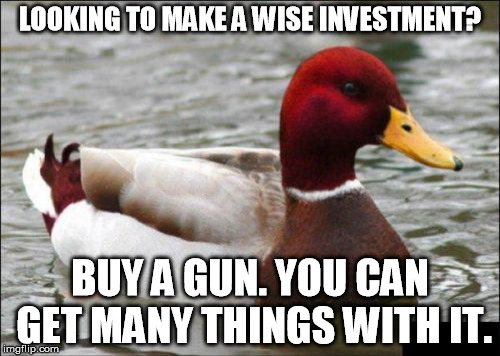 Malicious Advice Mallard Meme | LOOKING TO MAKE A WISE INVESTMENT? BUY A GUN. YOU CAN GET MANY THINGS WITH IT. | image tagged in memes,malicious advice mallard,funny | made w/ Imgflip meme maker
