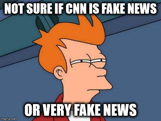 Is CNN fiction or nonfiction? | NOT SURE IF CNN IS FAKE NEWS OR VERY FAKE NEWS | image tagged in memes,futurama fry,cnn fake news,cnn sucks | made w/ Imgflip meme maker