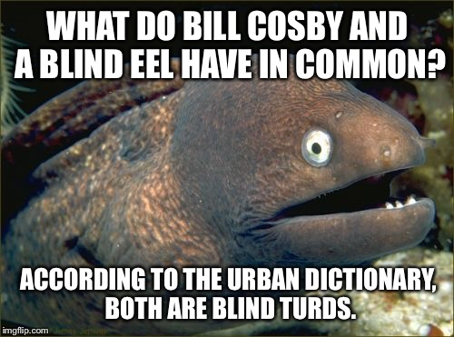 Bill Cosby and blind eel | WHAT DO BILL COSBY AND A BLIND EEL HAVE IN COMMON? ACCORDING TO THE URBAN DICTIONARY, BOTH ARE BLIND TURDS. | image tagged in memes,bad joke eel,bill cosby,urban dictionary,two turds,toilet humor | made w/ Imgflip meme maker