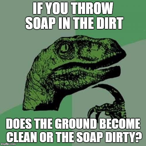 Philosoraptor Meme | IF YOU THROW SOAP IN THE DIRT DOES THE GROUND BECOME CLEAN OR THE SOAP DIRTY? | image tagged in memes,philosoraptor | made w/ Imgflip meme maker