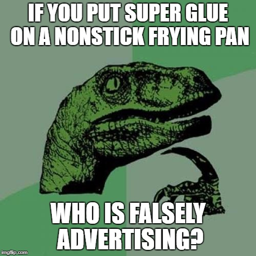 Philosoraptor Meme | IF YOU PUT SUPER GLUE ON A NONSTICK FRYING PAN WHO IS FALSELY ADVERTISING? | image tagged in memes,philosoraptor | made w/ Imgflip meme maker