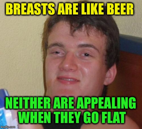 The nature of things  | BREASTS ARE LIKE BEER NEITHER ARE APPEALING WHEN THEY GO FLAT | image tagged in memes,10 guy,funny | made w/ Imgflip meme maker