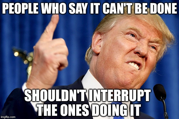 Donald Trump | PEOPLE WHO SAY IT CAN'T BE DONE SHOULDN'T INTERRUPT THE ONES DOING IT | image tagged in donald trump | made w/ Imgflip meme maker