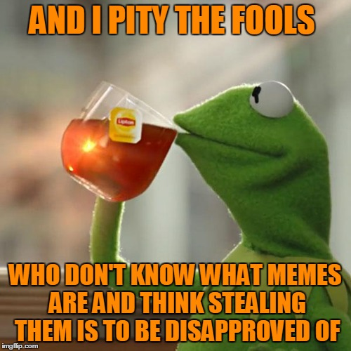 But Thats None Of My Business Meme | AND I PITY THE FOOLS WHO DON'T KNOW WHAT MEMES ARE AND THINK STEALING THEM IS TO BE DISAPPROVED OF | image tagged in memes,but thats none of my business,kermit the frog | made w/ Imgflip meme maker