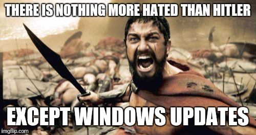 Sparta Leonidas Meme | THERE IS NOTHING MORE HATED THAN HITLER EXCEPT WINDOWS UPDATES | image tagged in memes,sparta leonidas | made w/ Imgflip meme maker