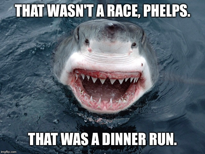 What a difference 2 seconds makes | THAT WASN'T A RACE, PHELPS. THAT WAS A DINNER RUN. | image tagged in memes,phelps,shark race,discovery channel,shark week,fake science | made w/ Imgflip meme maker