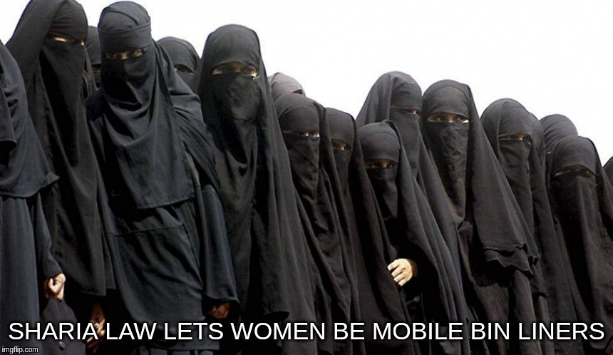 Sharia law lets women be mobile bin liners | SHARIA LAW LETS WOMEN BE MOBILE BIN LINERS | image tagged in sharia,law,women,bin,liners,muslim | made w/ Imgflip meme maker
