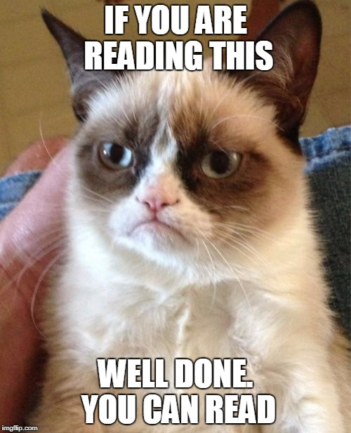 #STOLENMEMEWEEK | IF YOU ARE READING THIS WELL DONE. YOU CAN READ | image tagged in memes,grumpy cat | made w/ Imgflip meme maker