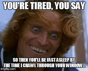 YOU'RE TIRED, YOU SAY SO THEN YOU'LL BE FAST ASLEEP BY THE TIME I CRAWL THROUGH YOUR WINDOW... | image tagged in willem dafoe | made w/ Imgflip meme maker