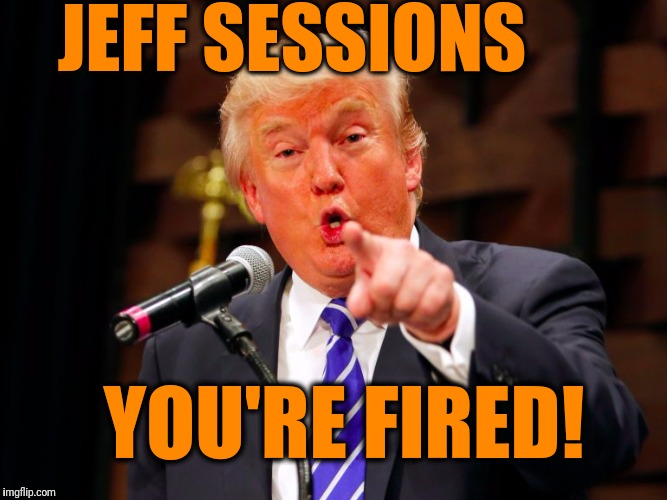 Hey,  it could happen.  I just read that Trump's considering it | JEFF SESSIONS YOU'RE FIRED! | image tagged in trump point | made w/ Imgflip meme maker