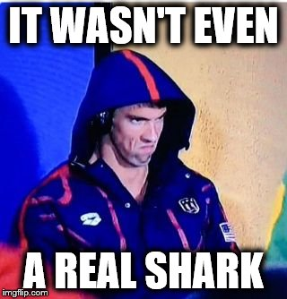 Michael Phelps Death Stare | IT WASN'T EVEN A REAL SHARK | image tagged in memes,michael phelps death stare | made w/ Imgflip meme maker