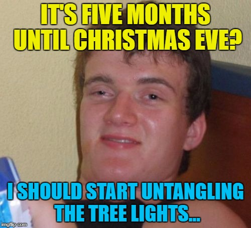 You put them away neatly every year and yet... :) | IT'S FIVE MONTHS UNTIL CHRISTMAS EVE? I SHOULD START UNTANGLING THE TREE LIGHTS... | image tagged in memes,10 guy,christmas,tree lights | made w/ Imgflip meme maker