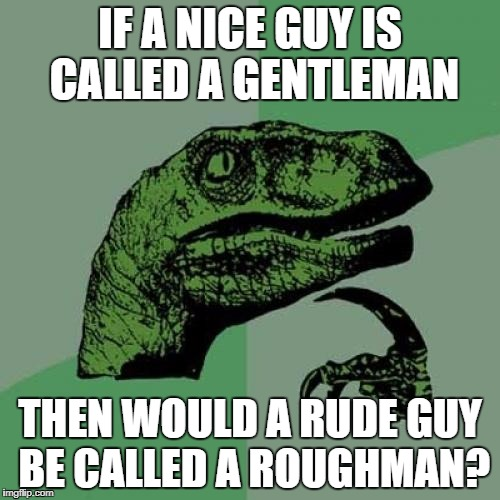 Philosoraptor Meme | IF A NICE GUY IS CALLED A GENTLEMAN THEN WOULD A RUDE GUY BE CALLED A ROUGHMAN? | image tagged in memes,philosoraptor | made w/ Imgflip meme maker