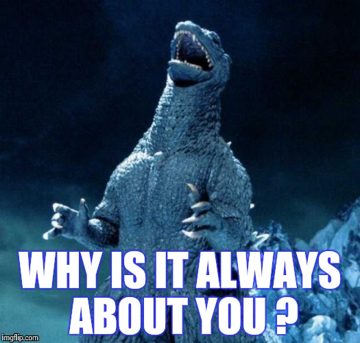Go-Go-Godzilla | WHY IS IT ALWAYS ABOUT YOU ? | image tagged in go-go-godzilla | made w/ Imgflip meme maker