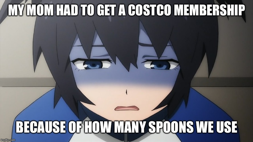 Ashamed anime girl | MY MOM HAD TO GET A COSTCO MEMBERSHIP BECAUSE OF HOW MANY SPOONS WE USE | image tagged in ashamed anime girl | made w/ Imgflip meme maker