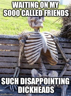 Waiting Skeleton Meme | WAITING ON MY SOOO CALLED FRIENDS SUCH DISAPPOINTING DICKHEADS | image tagged in memes,waiting skeleton | made w/ Imgflip meme maker